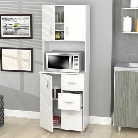 Inval America Larcinia White Laminate/Wood Kitchen Storage Cabinet