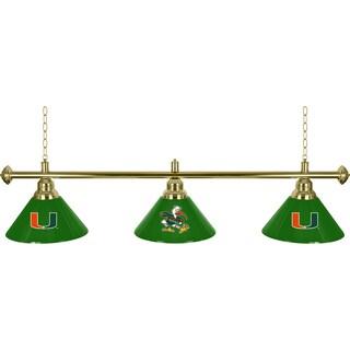 University of Miami 3 Shade Brass Billiard Lamp - Sebastian