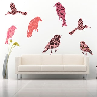 Retro Flower Bird Set Modern Wall Decal