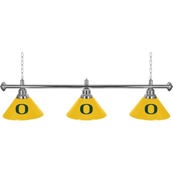 University of Oregon 3 Shade Chrome Billiard Lamp
