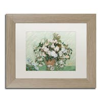 Vincent van Gogh 'Roses 1890' White Matte, Birch Framed Wall Art