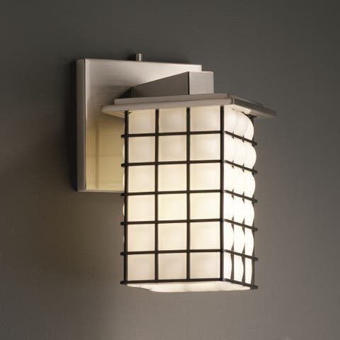 Justice Design Wire Glass Montana Angled Bobeche Wall Sconce, Grid Opal
