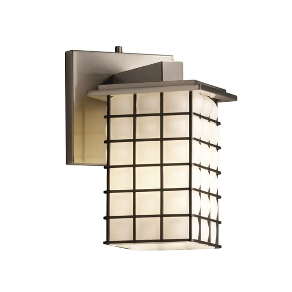 Justice Design Group Wire Glass Montana Angled Bobeche Wall Sconce, Grid  Opal