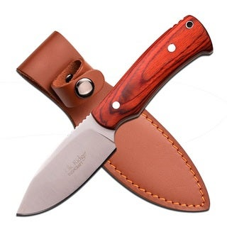 Elk Ridge 7.5-inch Satin Fixed Blade-Light Brwn Pakkawood Handle