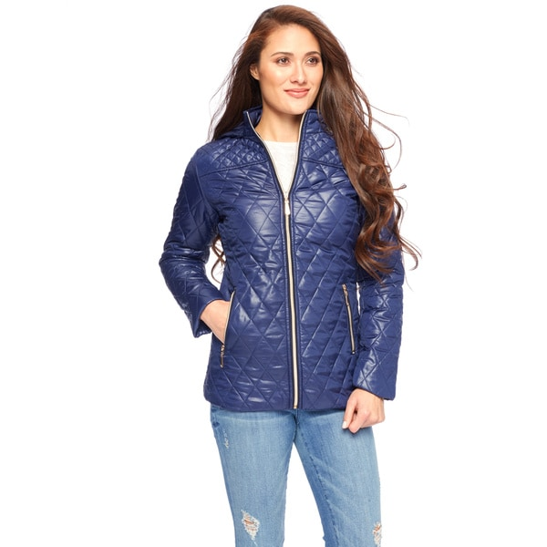 White Mark Women's Zipper Puffer Coat