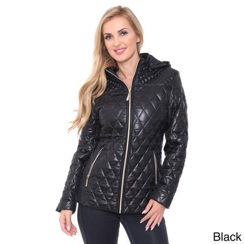 White Mark Women's Zipper Puffer Coat