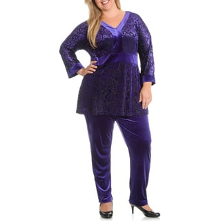La Cera Women's Plus Size Burnout Top Pant Set