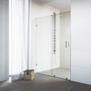 VIGO Ryland 50-inch Frameless Shower Door with Clear Glass and Stainless Steel Hardware