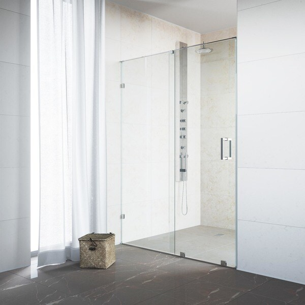 VIGO Ryland 48-inch Frameless Shower Door with .375-in. Clear Glass/Chrome Hardware - Clear Glass/Chrome