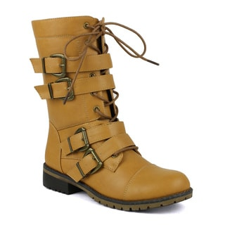 Mark and Maddux Nikita-02 Mid-Calf Lace-Up Combat Boot