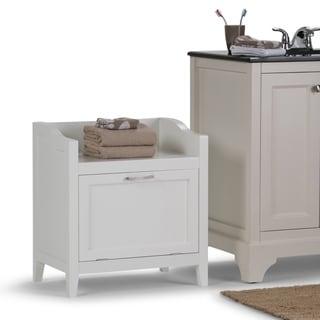 WYNDENHALL Hayes 24.2 inch H x 21.7 inch W Storage Hamper Bench in White