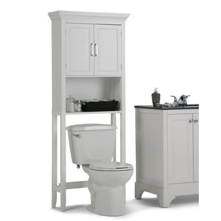 WyndenHall Hayes White Wood Bathroom Space Saver Cabinet