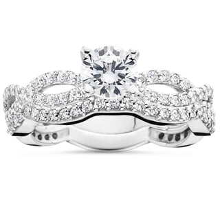 10k White Gold 1 ct TDW Diamond Engagement Infinity Ring Set (I-J, I2-I3)