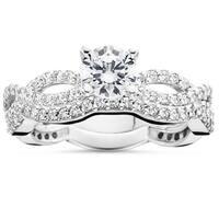 10k White Gold 1 ct TDW Diamond Engagement Infinity Ring Set