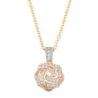 Gioelli 10k Gold .18ct TDW Diamond Tri-Colored Love Knot Necklace (I-J/I2)