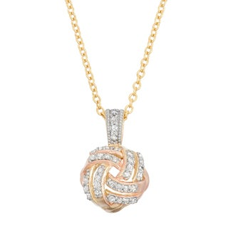Gioelli 10k Gold .18ct TDW Diamond Tri-Colored Love Knot Necklace