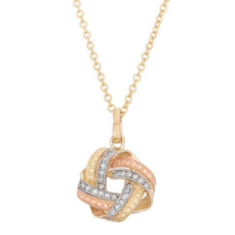 Gioelli 10k Gold .12ct TDW Diamond Tri-Colored Love Knot Necklace