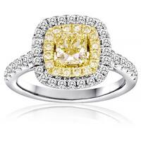 18k White Gold 1 1/2ct TDW White and Yellow Diamond Ring