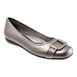 Women's Trotters Sizzle Signature Flat Pewter Metallic Soft Tumbled Leather