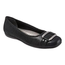 Women's Trotters Sizzle Signature Flat Black Patent Suede Lizard Leather