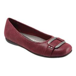 Women's Trotters Sizzle Signature Flat Dark Red Patent Suede Lizard Leather