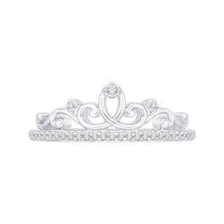 10k White Gold 1/8ct TDW White Diamond Crown Ring
