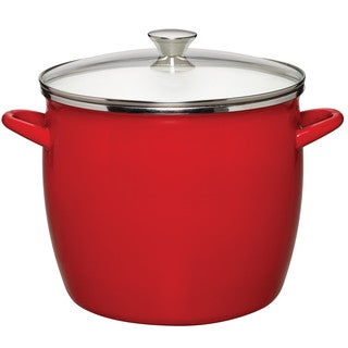 Sabatier 12QT Eos Stock Pot Red With Glass Lid