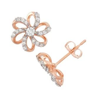 Gioelli 10k Rose Gold .28ct TDW Diamond Round Cut Flower Stud Earrings