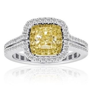 18k White and Yellow Gold 1 1/3ct Diamond TCW Yellow and White Ring