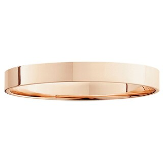 14k White Yellow And Rose Gold 3mm Plain Flat Wedding Band