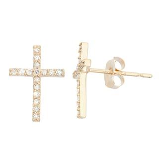 Gioelli 10k Gold .16ct TDW Diamond Cross Round Cut Stud Earrings