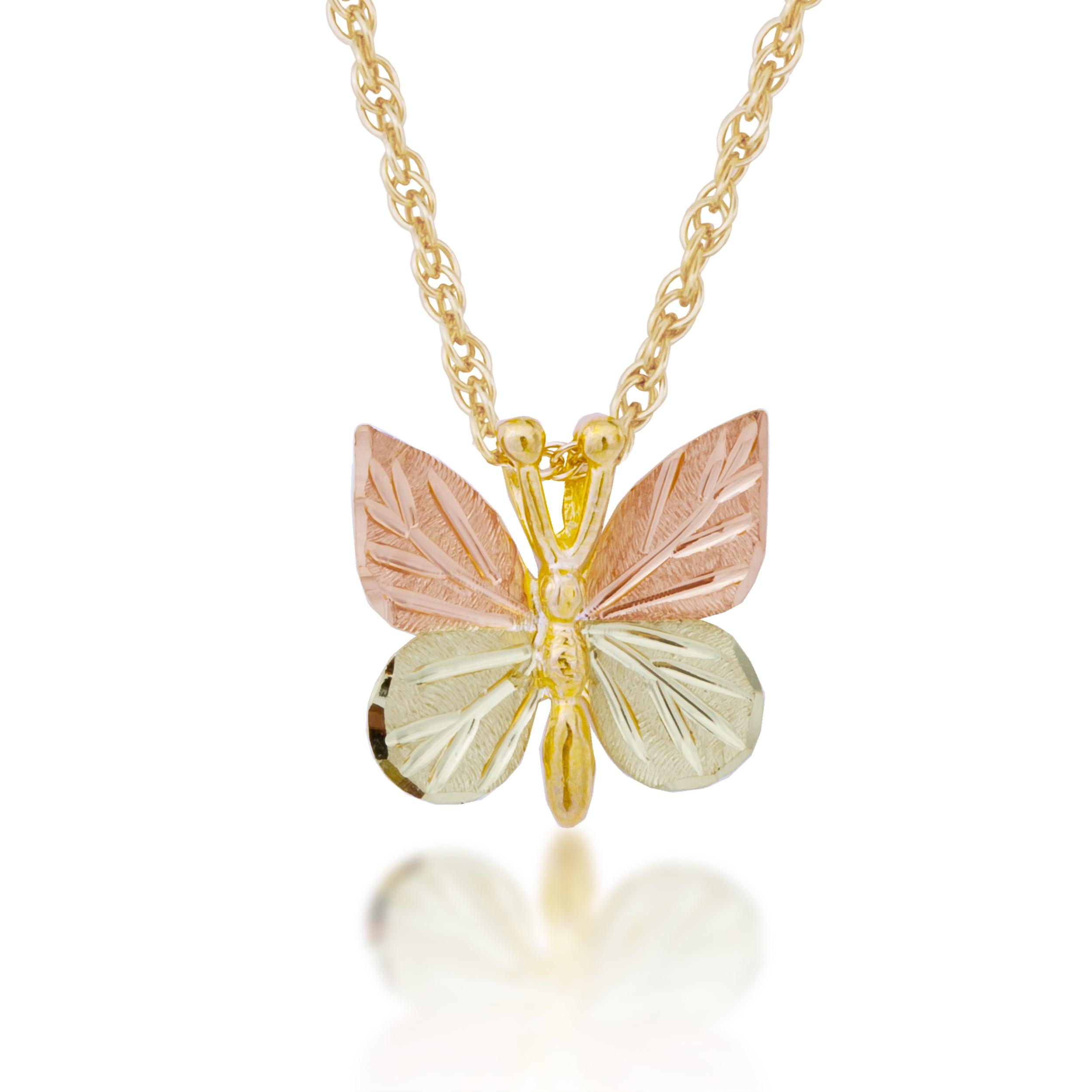 "Black Hills Gold 925 Sterling Silver /& 12K Butterfly Necklace 18/"""