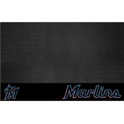 "MLB - Miami Marlins Black Vinyl Grill Mat 26""x42"""