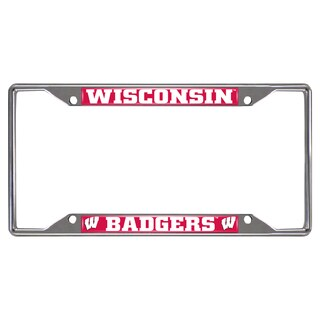Fanmats Wisconsin Badgers Chrome Metal License Plate Frame