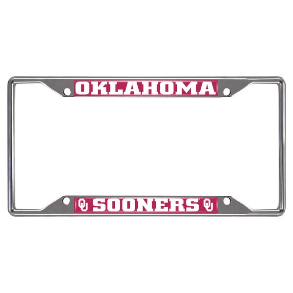 Fanmats Oklahoma Sooners Chrome Metal License Plate Frame