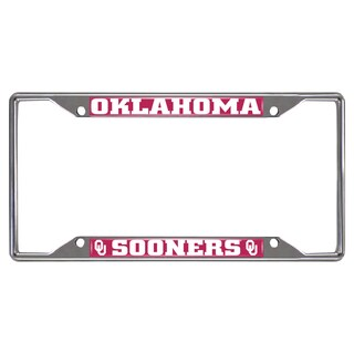 Fanmats Oklahoma Sooners Chrome Metal License Plate Frame