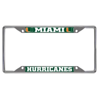 Fanmats Miami Hurricanes Chrome Metal License Plate Frame