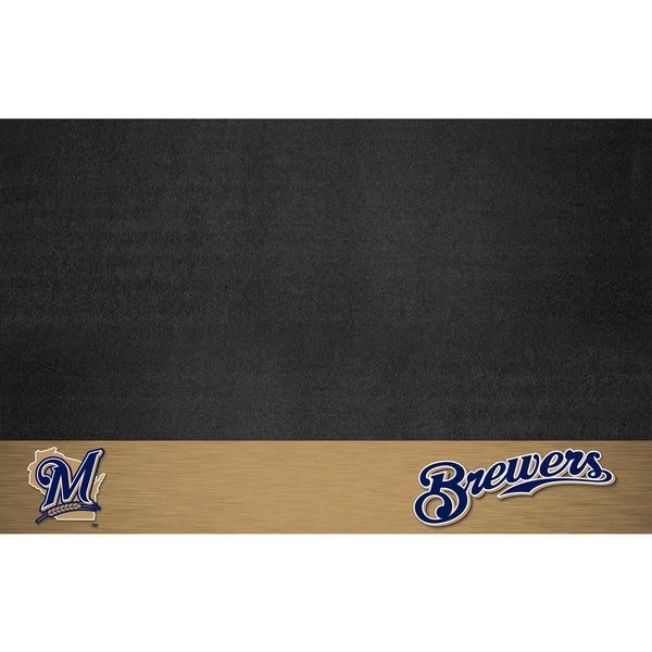 Fanmats Milwaukee Brewers Black Vinyl Grill Mat