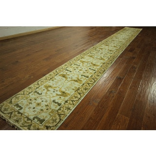Free Pad Antiqued Turkish Oushak Hand-knotted Wool Rug Runner (2'7 x 21'7)