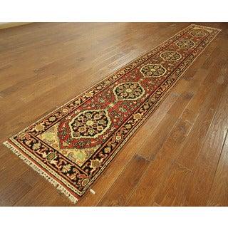 Free-Pad New Oriental Heriz Serapi Runner Hand-knotted Rust/ Black Wool Rug (2'5 x 15'8)