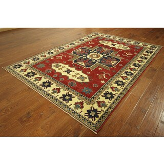 New Lava Veg Dyed Hand-knotted Wool Super Kazak Oriental Area Rug (6'3 x 8'10)