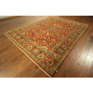 New Arrival Tabriz Unique Red Floral Design Hand-knotted Wool Rug (7'8 x 10'0)