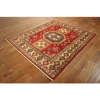New Antiqued Oriental Super Kazak Hand-knotted Veg Dyed Red Rug (5'3 x 6'4)