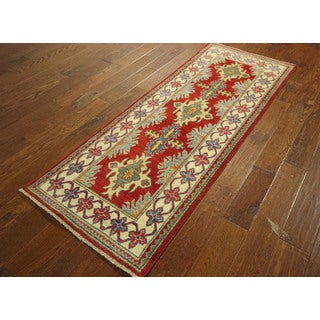 New Fine Geometric SuperKazak Hand-knotted Wool Veg Dyed Pakistani Rug (2'6 x 6'6)