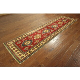 Traditional Super Kazak Runner Hand-knotted Veg Dyed Red Wool Rug (2'10 x 10'4)