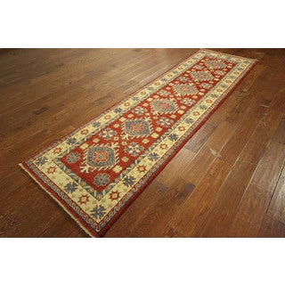 New Super Kazak Hand-knotted Wool Red Veg Dyed Runner Geometric Rug (2'8 x 9'3)