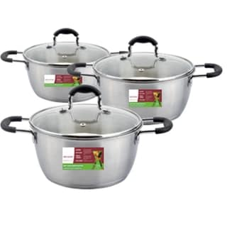 6-piece Stainless Steel Sauce Pot Set with Silicone Handles