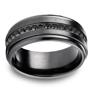 Black Titanium Black Cubic Zirconia Eternity Ring