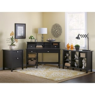 Broadview Computer Desk with Open Storage, Organizer, Bookcase and File Cabinet