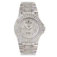 Croton Men's  Stainless Steel Silvertone Crystal Bracelet Watch - Silver